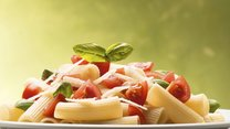 Macaroni with tomatoes parmesan and basil