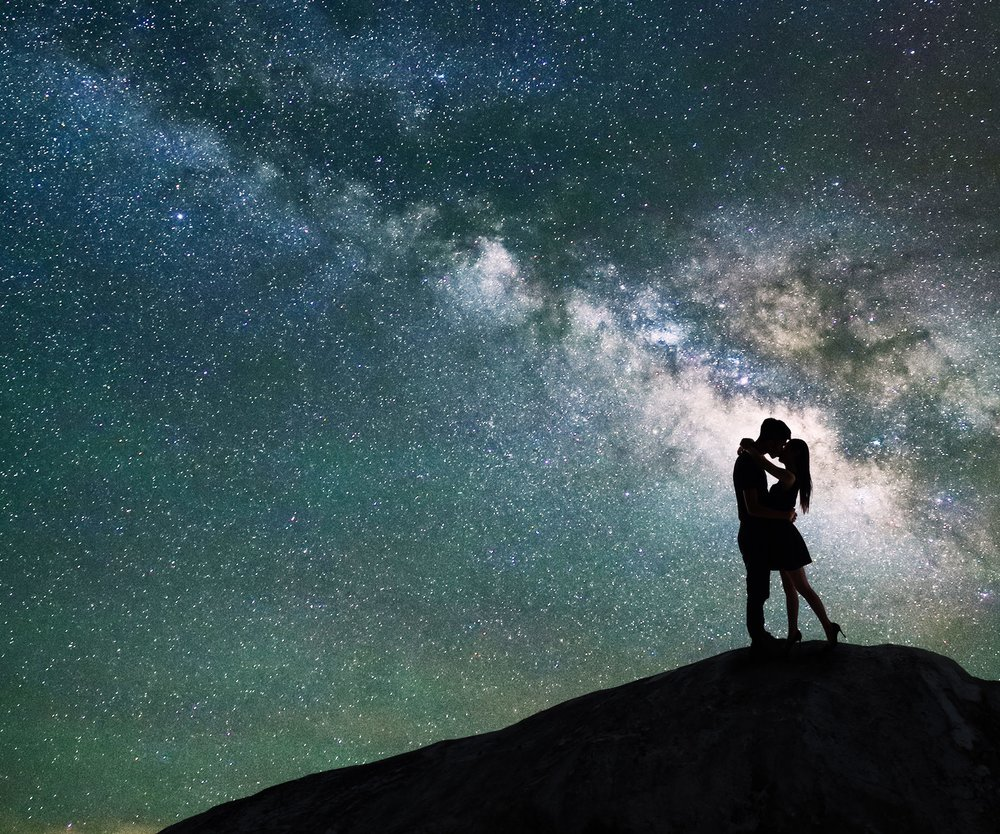 silhouette of couple with night scene milky way background in the galaxy