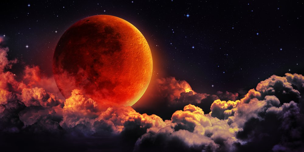 planetary moon red blood with clouds