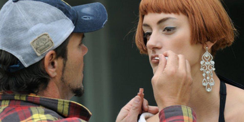 Beim Shooting für Vogue Eyewear: Maria von Germany´s Next Topmodel.