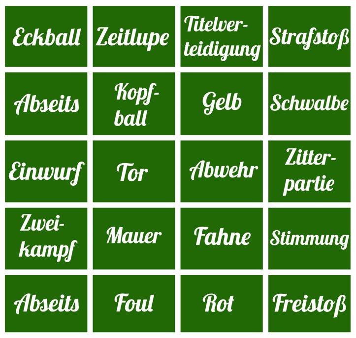 Fußball Buzzword Bingo
