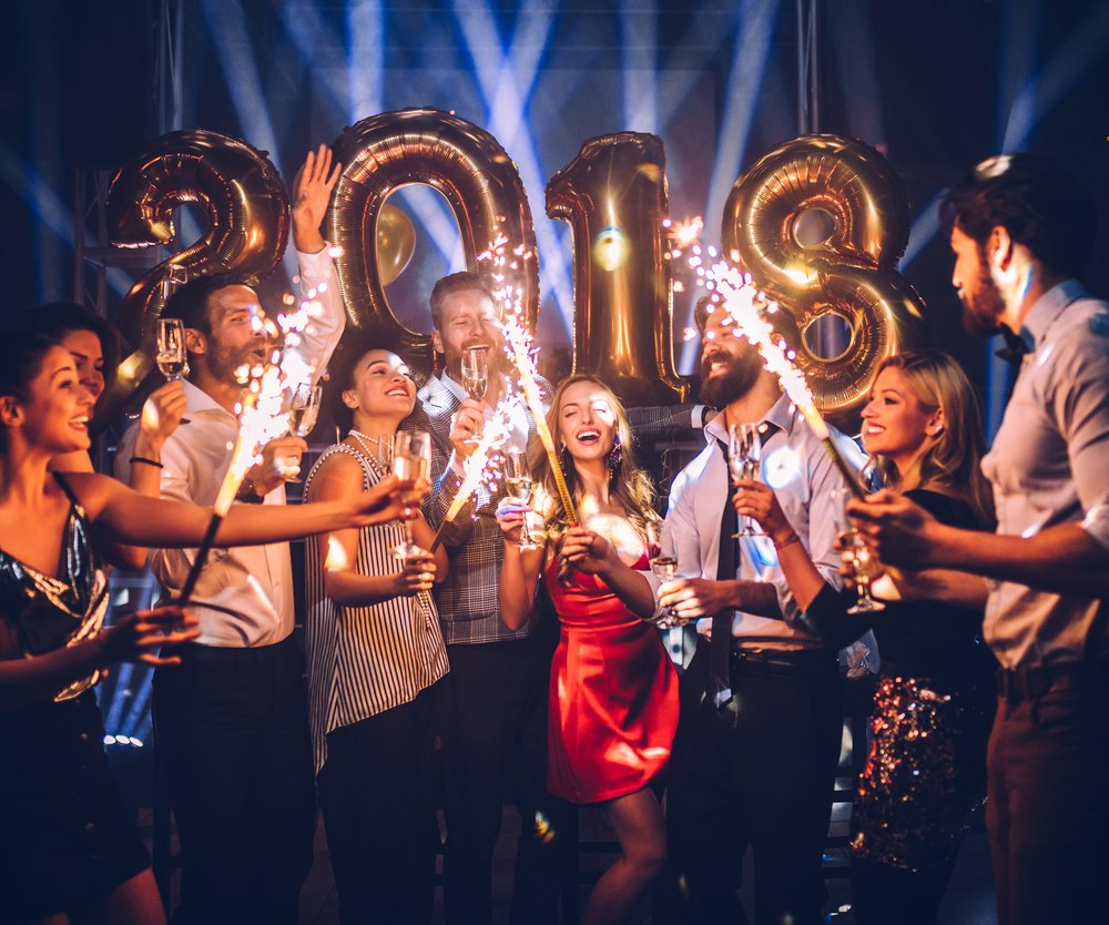 Group of friends celebrating New Year