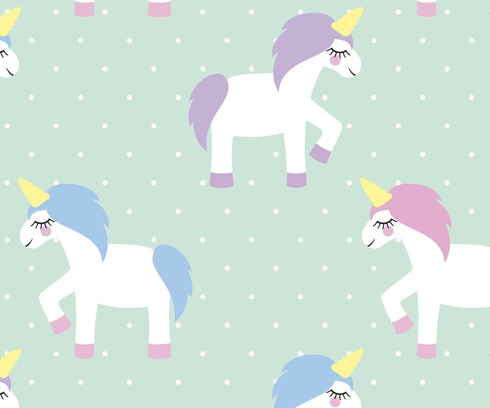 Unicorn seamless pattern on mint green polka dots background. Vector illustration. Magic animal print.