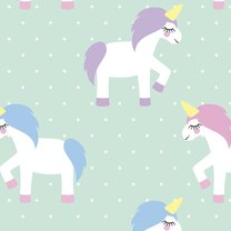Unicorn seamless pattern on mint green polka dots background. Vector illustration. Magic animal print.