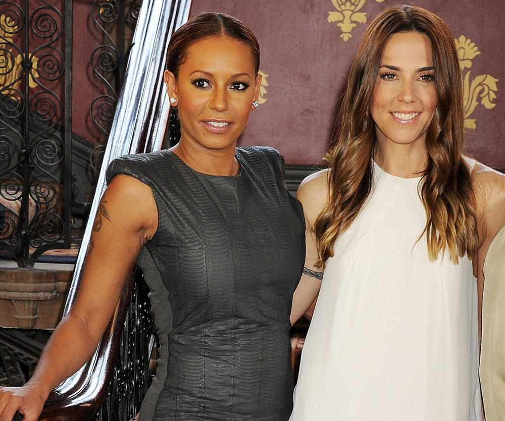 LONDON, ENGLAND - JUNE 26: (EMBARGOED FOR PUBLICATION IN UK TABLOID NEWSPAPERS UNTIL 48 HOURS AFTER CREATE DATE AND TIME. MANDATORY CREDIT PHOTO BY DAVE M. BENETT/GETTY IMAGES REQUIRED) Melanie Brown aka Mel B (L) and Melanie Chisholm aka Mel C attend the press launch of 'Viva Forever', a new musical based on the music of The Spice Girls, at the St Pancras Renaissance Hotel on June 26, 2012 in London, England. (Photo by Dave M. Benett/Getty Images)