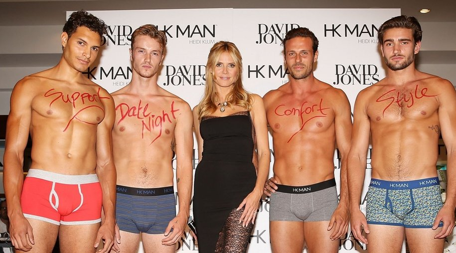 SYDNEY, AUSTRALIA - JANUARY 28: Heidi Klum poses with Heidi Klum Man models during Heidi Klum Man Launch at David Jones on January 28, 2016 in Sydney, Australia. (Photo by Caroline McCredie/Getty Images)