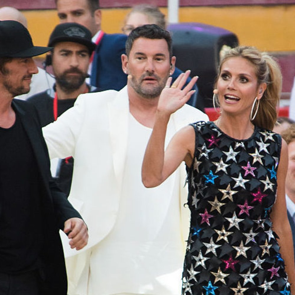 PALMA DE MALLORCA, SPAIN - MAY 12: Thomas Hayo, Heidi Klum and Michael Michalsky during the finals of 'Germany's Next Topmodel' at Coliseo Balear on May 12, 2016 in Palma de Mallorca, Spain. (Photo by Matthias Nareyek/Getty Images)