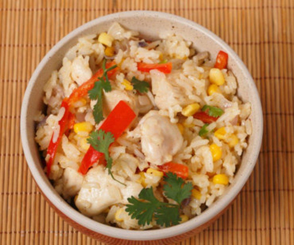 Reispfanne mit Hähnchenbrust