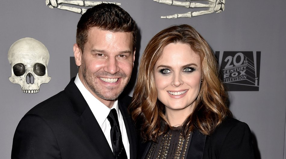 "WEST HOLLYWOOD, CA - DECEMBER 08: Actors David Boreanaz (L) and Emily Deschanel arrive at Fox TV's ""Bones"" 200th Episode Celebration at Herringbone Mondrian on December 8, 2014 in West Hollywood, California. (Photo by Kevin Winter/Getty Images)"