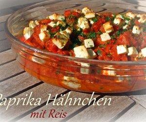 Paprika-Hähnchen mit Reis