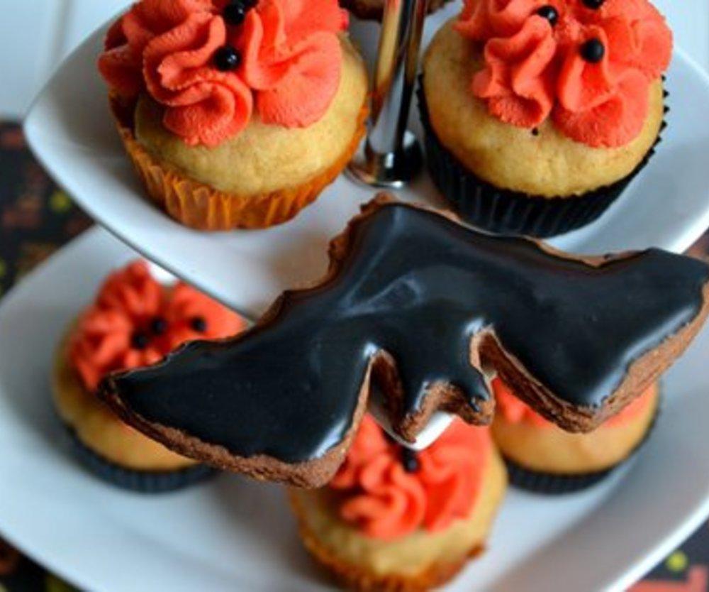 Halloween-Kürbis-Cupcakes mit Mascaponefrosting