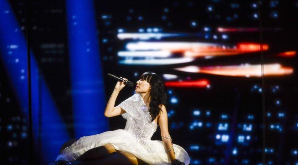 Die australische Kandidatin Dami Im bei den Proben zum Eurovision Song Contest in Stockholm.