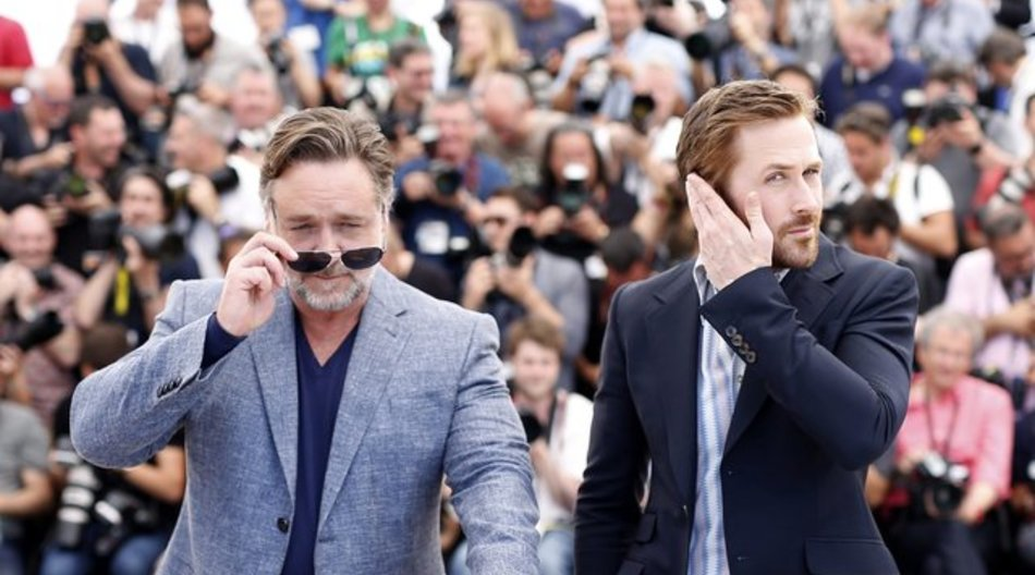 """In der Buddy-Komödie """"The Nice Guys"""" spielt Ryan Gosling (r) einen abgehalfterten Privatdetektiv und Russell Crowe einen Schläger."""