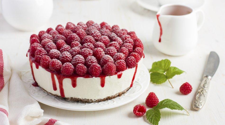 raspberry cream mousse cake (no baked cheesecake) on white background
