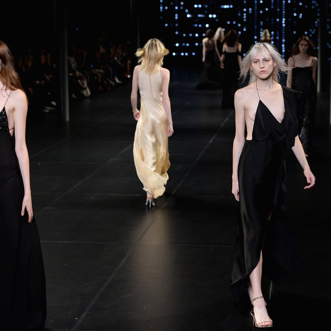 PARIS, FRANCE - OCTOBER 05:  Models walk the runway during the Saint Laurent show as part of the Paris Fashion Week Womenswear Spring/Summer 2016 on October 5, 2015 in Paris, France.  (Photo by Dominique Charriau/Getty Images)