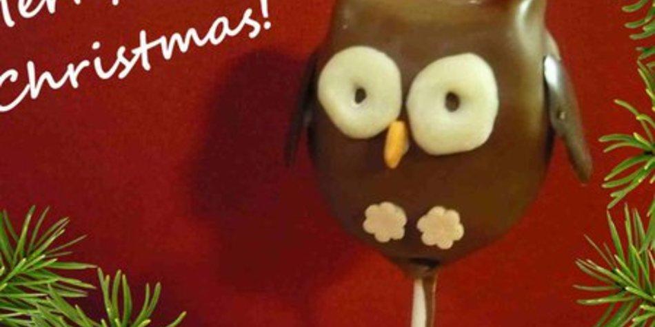 Weihnachtseulen-Cake Pops