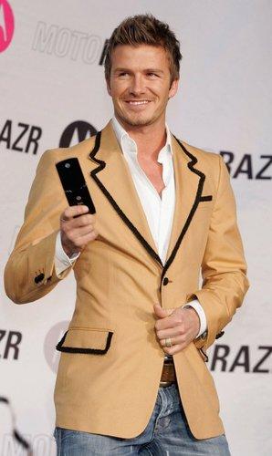David Beckham auf der Veranstaltung eines Mubiltelefonanbieters