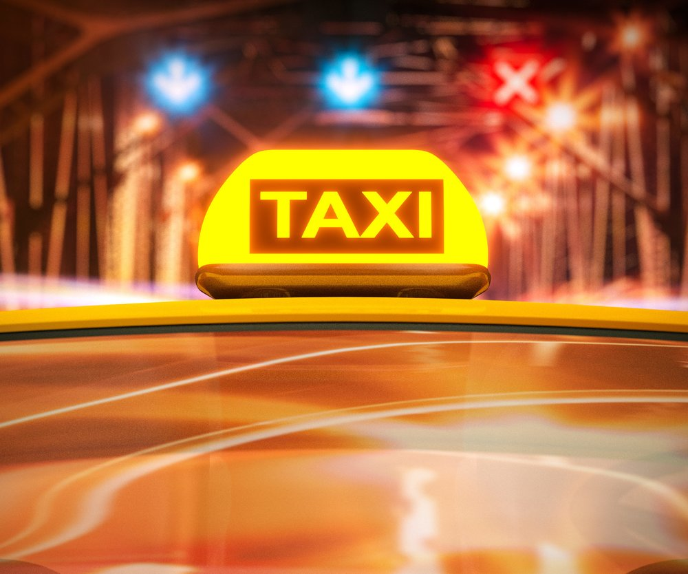 Taxi in rush traffic at night 3d rendering.