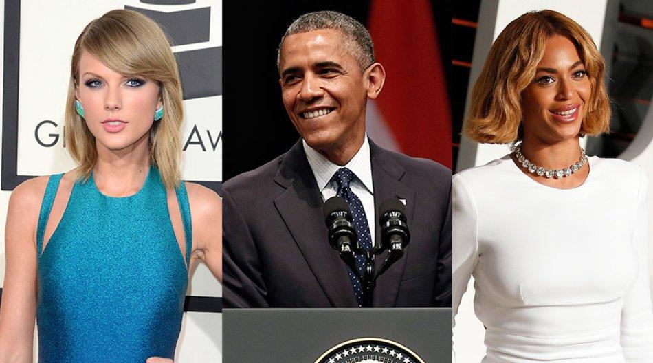 Taylor Swift, Barack Obama, Beyoncé