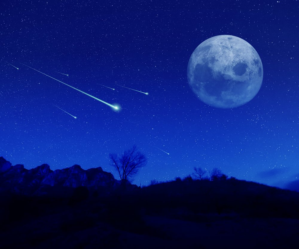 Meteoric shower in the night.