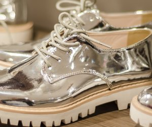 New silver shoes with reflection
