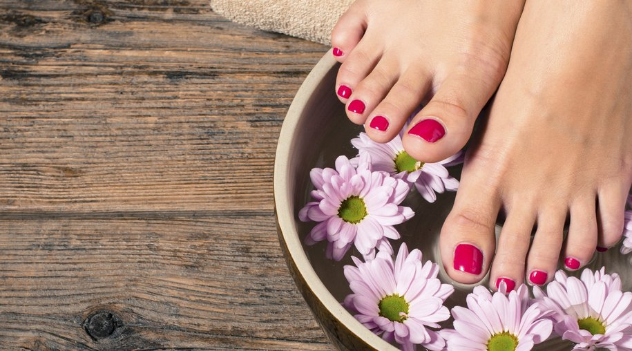 Feet and Hands with French Natural Pedicure and Manicure with Or