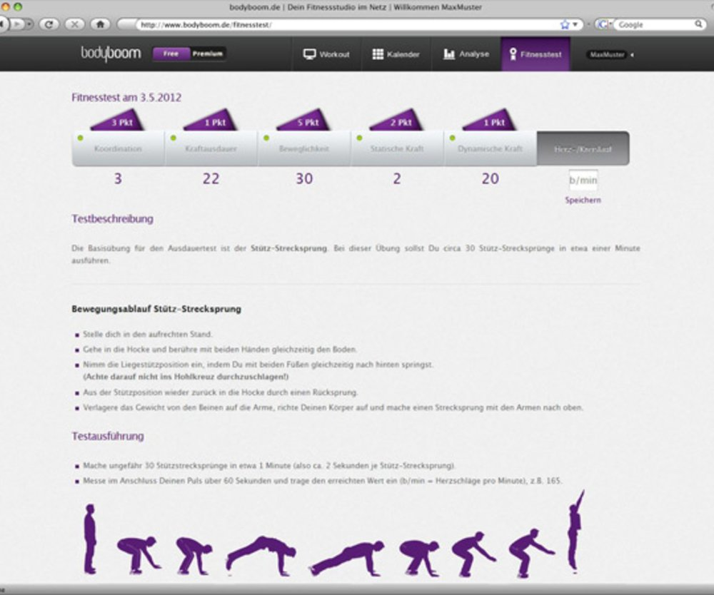 Bodyboom Fitness-Test