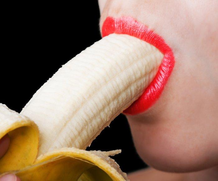 Sex concept women sucking eating banana fruit food