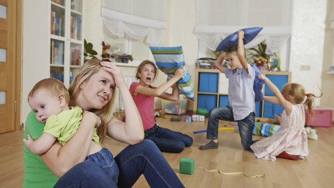 female parent woman frustrated and upset from children behaviour
