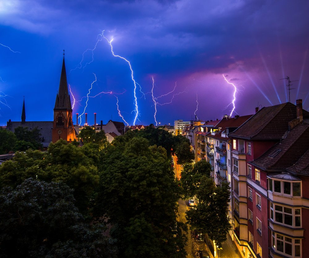 A thunderstorm is approaching Berlin, Germany.