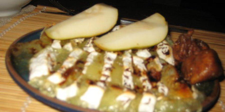 Gratinierter Handkäs mit Honig und Feigensenf