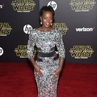 """HOLLYWOOD, CA - DECEMBER 14: Actress Lupita Nyong'o attends the premiere of Walt Disney Pictures and Lucasfilm's """"Star Wars: The Force Awakens"""" on December 14th, 2015 in Hollywood, California. (Photo by Ethan Miller/Getty Images)"""
