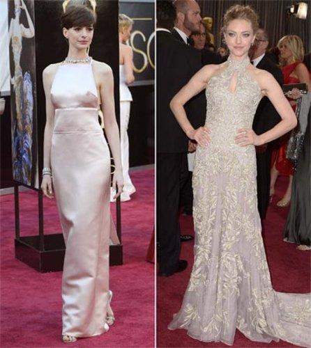 Schweren Herzens entschied sich Hathaway kurzfristig für ein anderes Kleid obwohl ihr Valentinos rosafarbene Spitzen-Kreation sicher auch gut gestanden hätte.