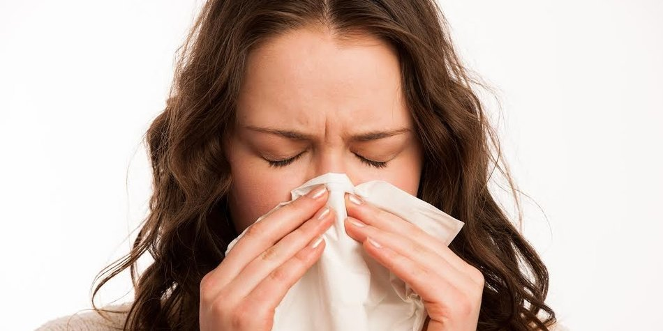Asian caucasian woman with flu