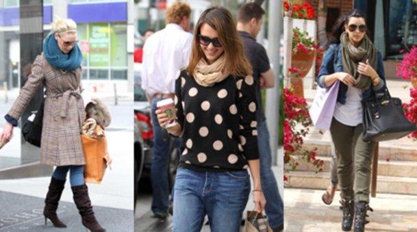 Katherine Heigl, Jessica Alba und Kim Kardashian mit Schlauchschals