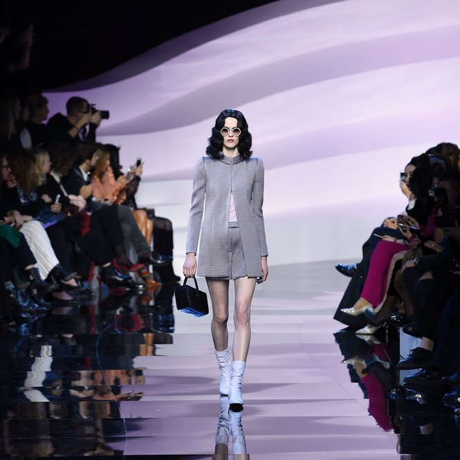 A model presents a creation for Giorgio Armani Prive during 2016 spring/summer Haute Couture collection on January 26, 2016 in Paris.  AFP PHOTO / MIGUEL MEDINA / AFP / MIGUEL MEDINA        (Photo credit should read MIGUEL MEDINA/AFP/Getty Images)