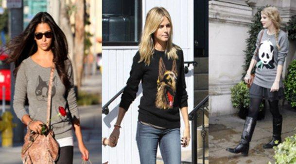 Camila Alves , Heidi Klum und Taylor Swift  mit Tier-Pullis