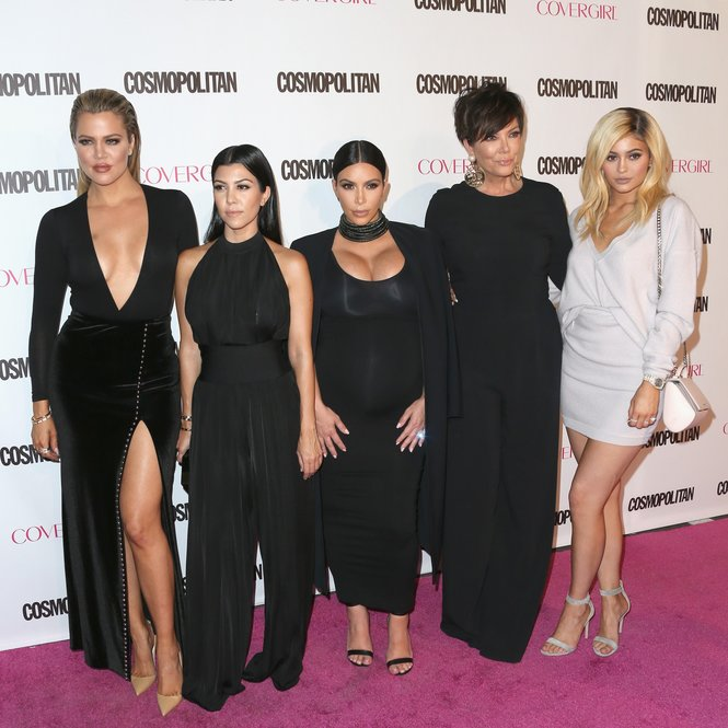 WEST HOLLYWOOD, CA - OCTOBER 12: (L-R) TV personalities Khloe Kardashian, Kourtney Kardashian, Kim Kardashian, Kris Jenner and Kylie Jenner attend Cosmopolitan's 50th Birthday Celebration at Ysabel on October 12, 2015 in West Hollywood, California. (Photo by Frederick M. Brown/Getty Images)
