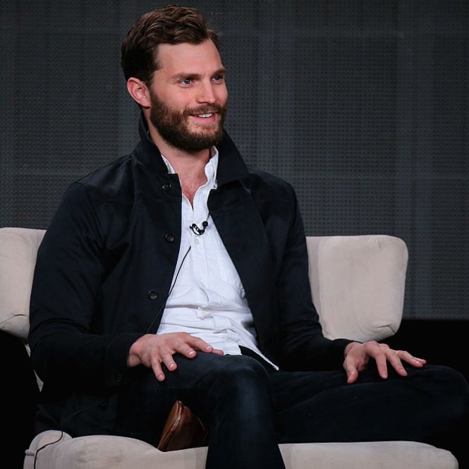 PASADENA, CA - JANUARY 07:  Jamie Dornan speaks onstage about The Fall during the Netflix TCA Press Tour at Langham Hotel on January 7, 2015 in Pasadena, California.  (Photo by Mark Davis/Getty Images for Netflix)