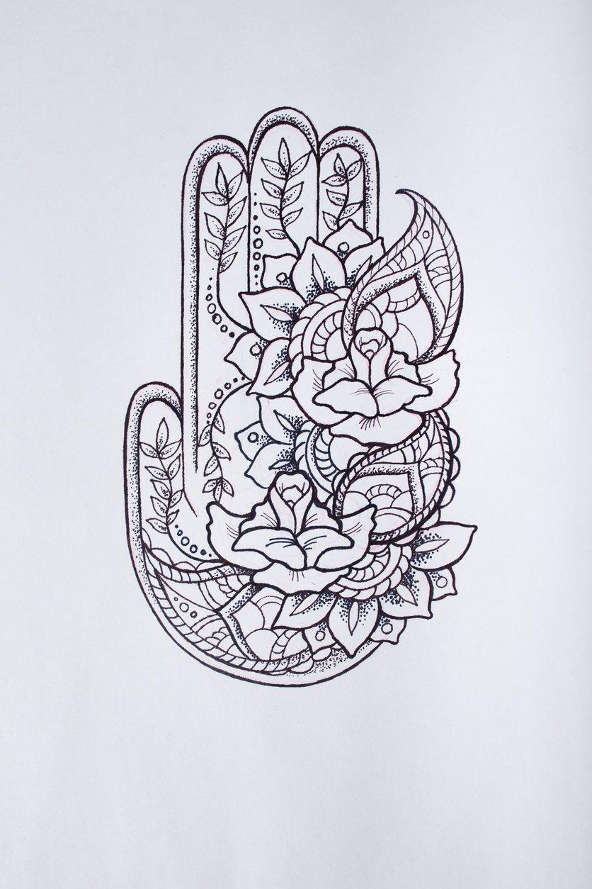 Hamsa-Tattoo Hand der Fatima