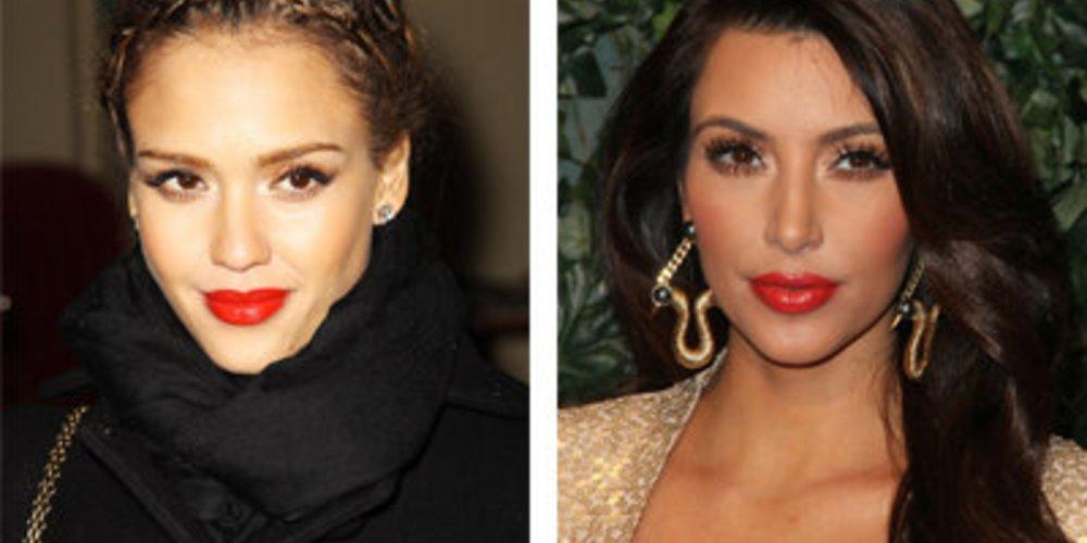 Jessica Alba und Kim Kardashian: Roter Lippenstift für den südländischen Typen mit gebräuntem, olivestichigem Teint