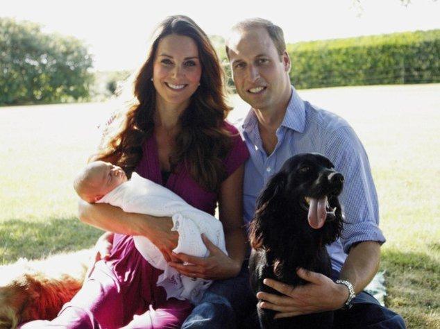 Kate Middleton, Prinz William und Prinz George im Garten der Middletons