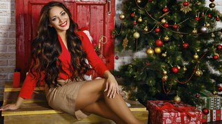 Photo of a beautiful girl with long hair is in the Christmas interior