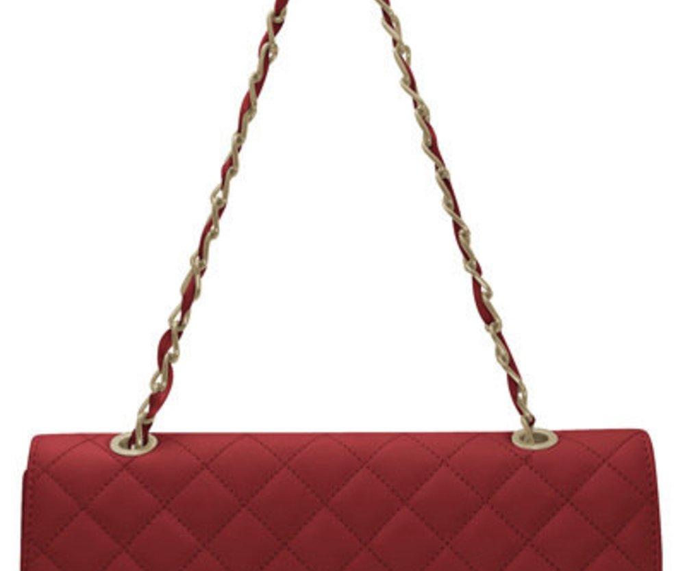 Rote Handtasche in Stepp-Optik