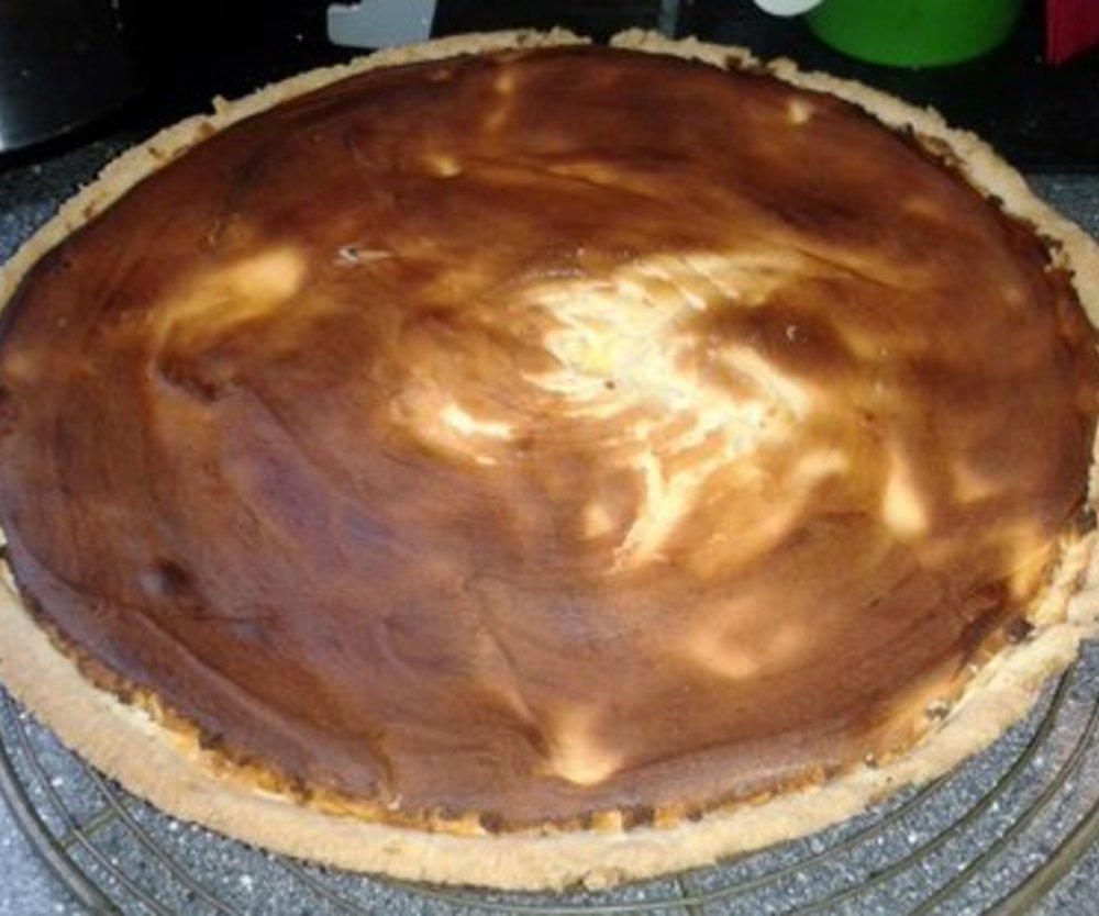 So sieh der Käsekuchen aus, wenn er frisch aus dem Ofen kommt, lecker :)