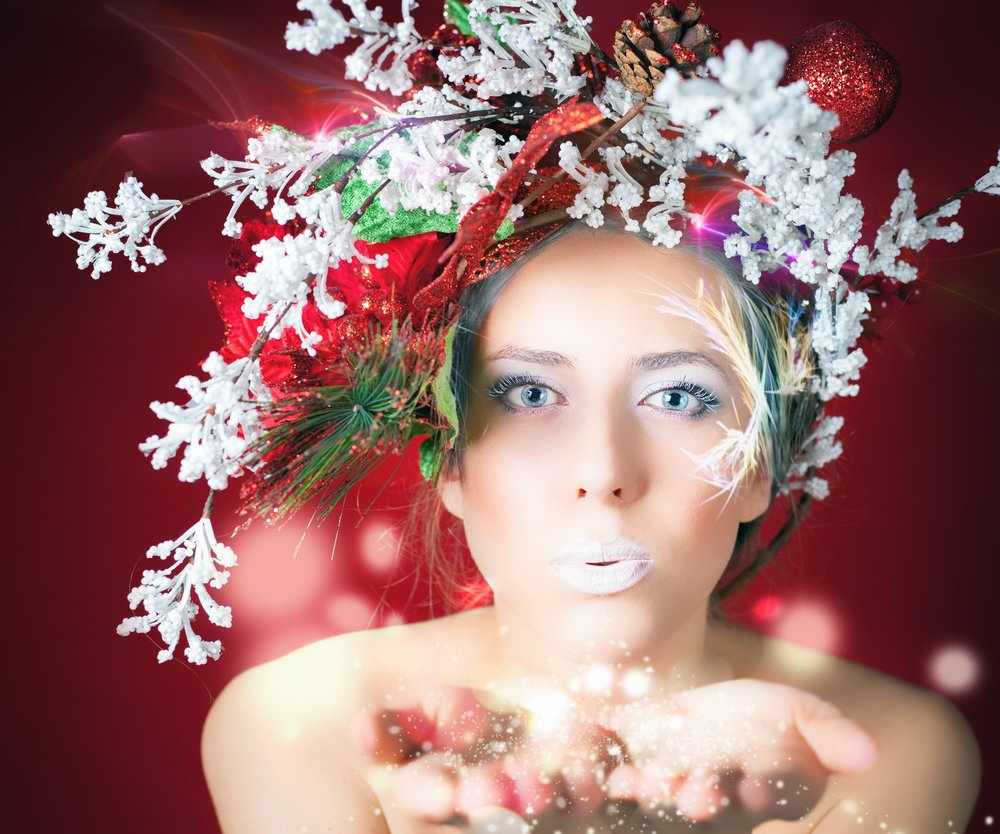 Christmas winter woman with tree hairstyle and makeup, magical fairy