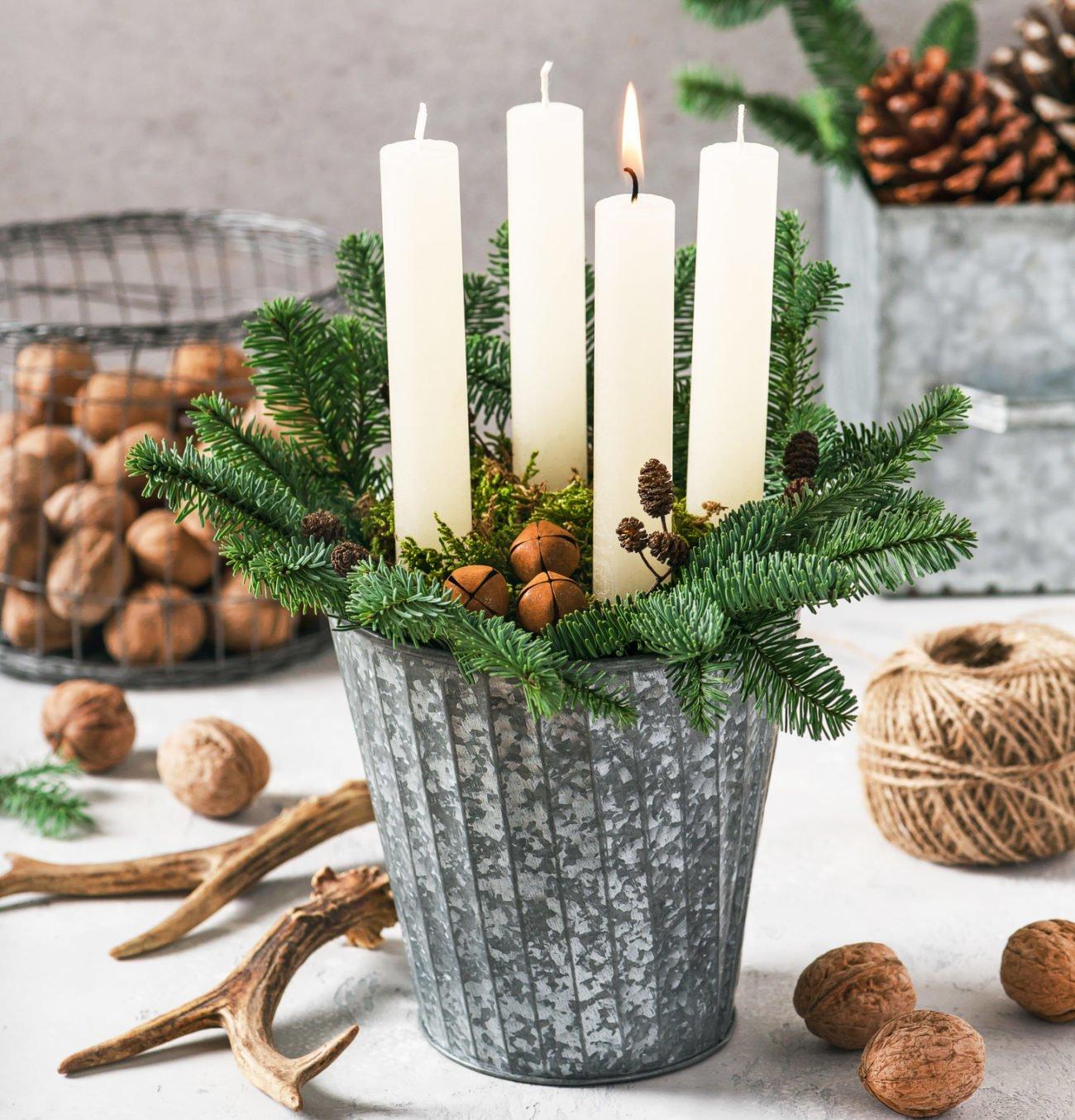 Adventsgesteck selber machen Blumentopf