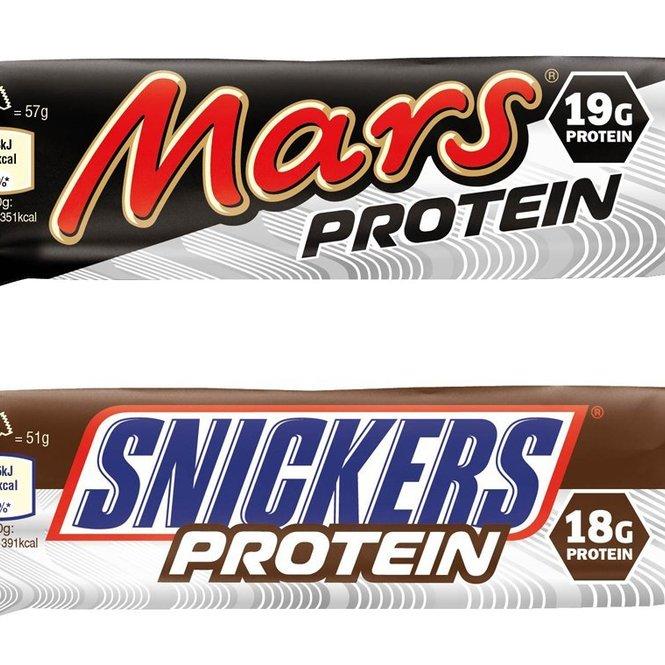 Proteinriegel von Mars und Snickers