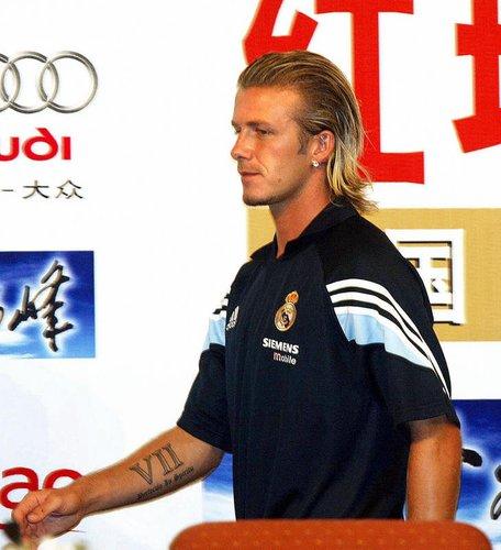 David Beckham auf einer Pressekonferenz in Peking