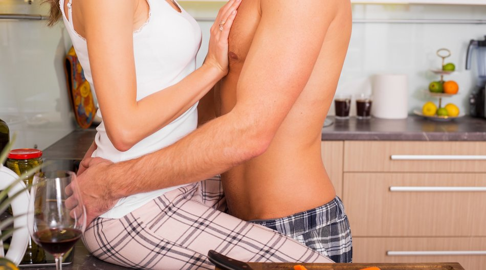 Foreplay in the kitchen while cooking